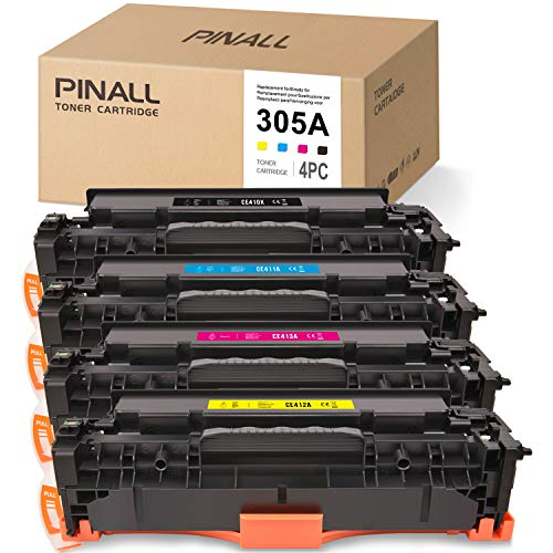 PINALL 4 Toner Kompatibel mit HP CE410X CE411A CE412A CE413A HP 305A für HP Laserjet Pro 300 Color M375nw M351a 400 Color M451dn M451dw M451nw M475dn M475dw Drucker(Schwarz/Cyan/Magenta/Gelb)