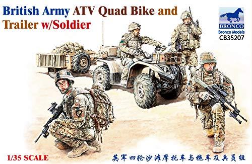 Unbekannt Bronco CB35207 _ Britush Army ATV Quad Bike and Trailer w/Soldier _ 1:35