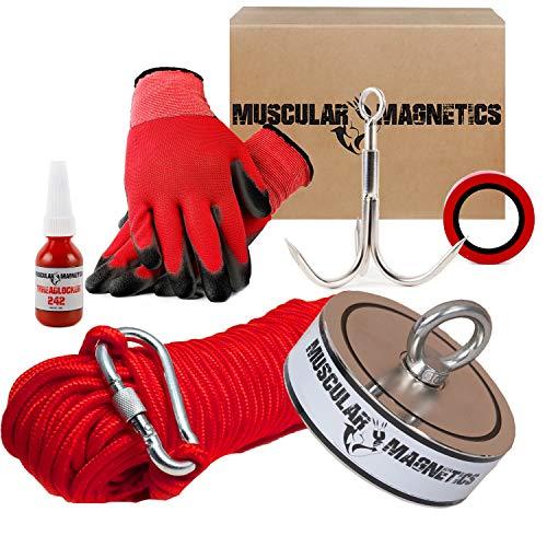 2625lb Double Sided Fishing Magnet Bundle Pack - Includes 8mm 100ft High Strength Nylon Rope with Carabiner, Non-Slip Nylon Gloves, 2625lb (1190kg) Magnet, Threadlocker, Grappling Hook & Tape