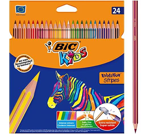 BIC Kids Evolution Stripes Lápices de colores - colores Surtidos,