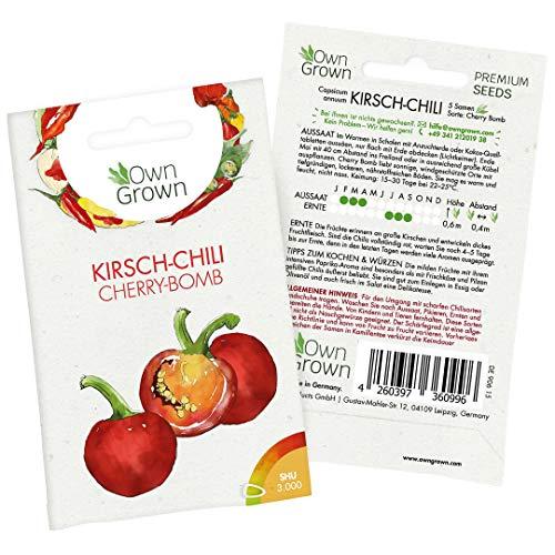 Chilisamen Kirsch Chili: 5 Premium Kirsch Chili Samen der Sorte Cherry Bomb zum Anbau Chili Pflanzen für Balkon und Garten – Kleine Chili Samen mild – Zertifizierte Chilli Samen von OwnGrown