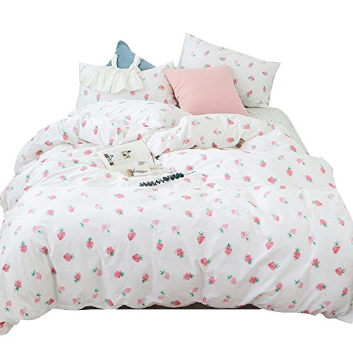 Strawberry Kawaii Bedding Sets Twin Duvet Covers Cotton for Girls Teen Kids Toddler Women Bed Reversible Teen Bedding Set Twin Size Bed Sets(Twin, Cartoon Pink Strawberry)
