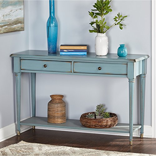 Blue Rustic Wood Farmhouse Sofa Table
