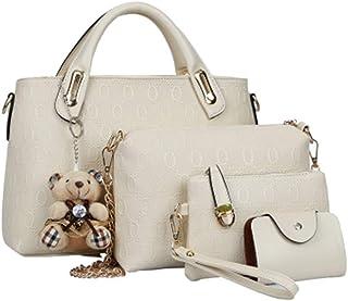 4 damestasen/sets voorjaar/zomer PU-lederen vrouwenhandtas Trend Big Bag handtas schoudertas, ivoor (ivoor) - 5023652899070