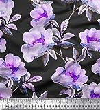 Soimoi Lila Satin Seide Stoff Blume & Blätter Aquarell