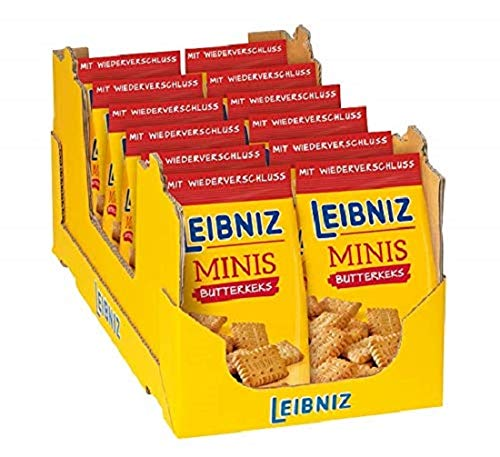 Leibniz Minis Butterkeks im 12er Pack — Mini-Kekse in der Großpackung — Keks-Box mit Butter-Gebäck in 12 Kekstüten — Vorrats-Box (12x 150 g Tüten)