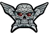 Robo Winged Robot Skull Silver Patch 10 inch Patch IVANPL6021