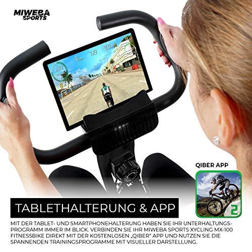 Miweba Sports Indoor Xycling X-Bike Fitnessbike - 3 Kg Schwungmasse - Pulsmessung - 8 Widerstandsstufen - App Funktion (Schwarz Rot) - 4