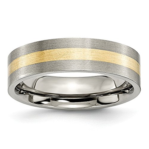 ICE CARATS Titanium Flat 14k Yellow Inlay 6mm Brushed Wedding Ring Band Size 10.50 Precious Metal Fine Jewelry for Women Gifts for Her