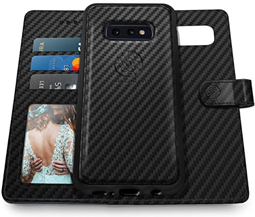 Shields Up Galaxy S10E Case [Detachable] Magnetic Wallet Case, Durable Carbon Fiber Case with Card/Cash Slots and Wrist Strap, [Vegan Leather] Cover for Samsung Galaxy S10E - TXW