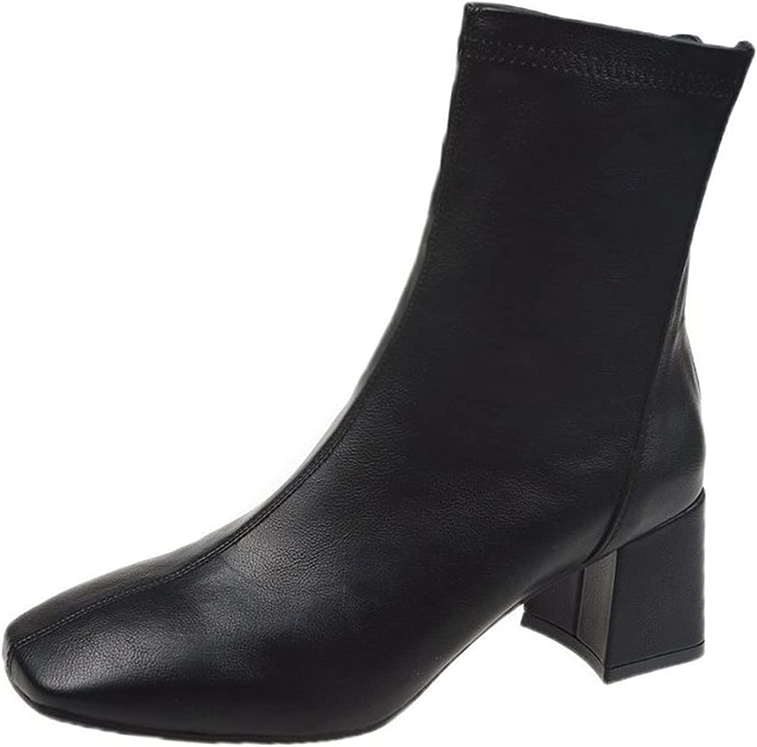 USYFAKGH Womens Ladies Wedge Squared Heels Squared Toe Zip Up Solid Boots Shoes