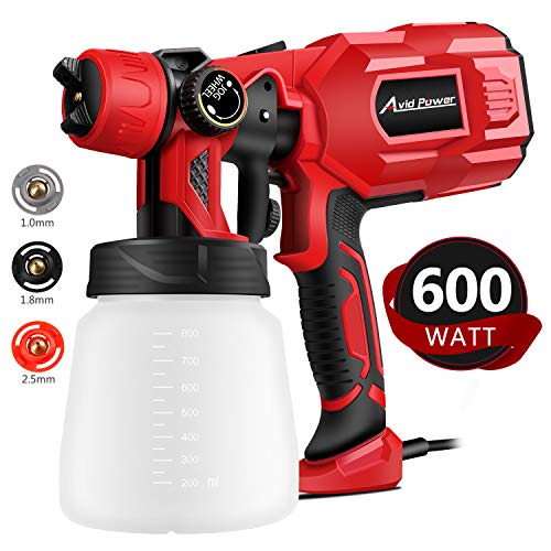 Paint Sprayer, 600W HVLP Spray Gun, Electric Paint Gun with 3 Spray Patterns, 3 Copper Nozzles, Flow Control and 800ml Detachable Container for Various Painting Projects, Avid Power