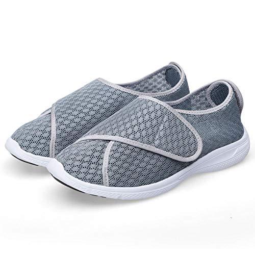 Diabetische wandelschoenen voor heren Ademende sportschoenen, Damesschoenen voor dames, gezwollen voet, Schoenen voor misvorming van winter diabetische voet-grijs net_NL8.5, Diabetische pantoffel