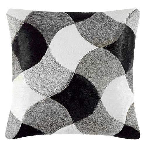 Livorio exclusief patchwork-koeienhuid kussen - 40x40cm - handgemaakt - crest zwart - 100% natuurproduct