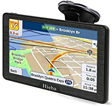 Hieha 7 Inches Navigation System for Car Truck RV Vehicles with Pre-Loaded Latest US/CA/MX Maps, 8GB 256Mb Touch Screen GPS Navigation Device with Car Bracket Holder, Lifetime Free Map Updates
