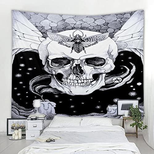 Tapiz de calavera mandala tapiz bohemio estilo art deco manta tela de fondo tela colgante A6 73x95 cm