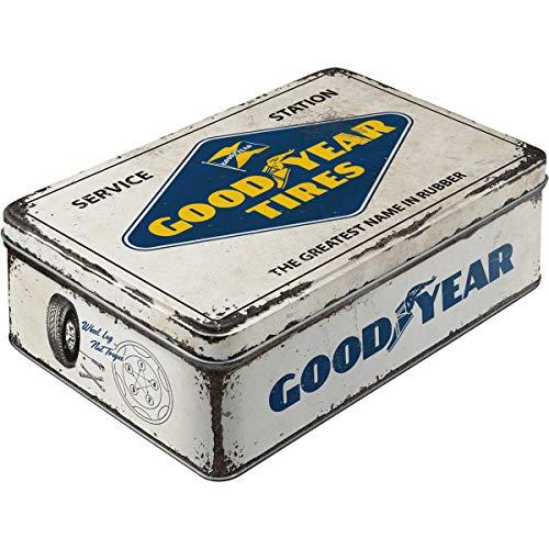 Nostalgic-Art 30745 Goodyear - logo wit | voorraaddoos vlak | koekjesdoos | bewaardoos | metaal | met scharnierdeksel