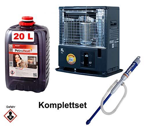 CAGO Petroleum-Ofen Kero 360 A 3kW mit Pumpe elektrisch und Petroleum 20L Liter Camping-Heizung