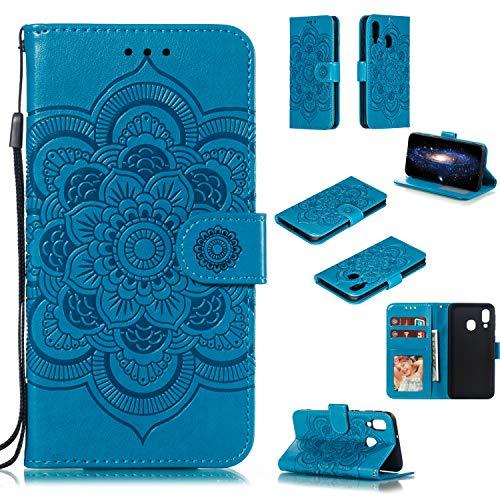 EWCover Funda Billetera para Samsung Galaxy A40,Mandala Flor Patrón Premium Funda Flip para Samsung Galaxy A40