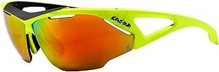 EASSUN Gafas de Ciclismo Aero, Solares Cat 3 con Sistema de Ventilación Airflow - Amarillo y Negro, Rojo Fuego
