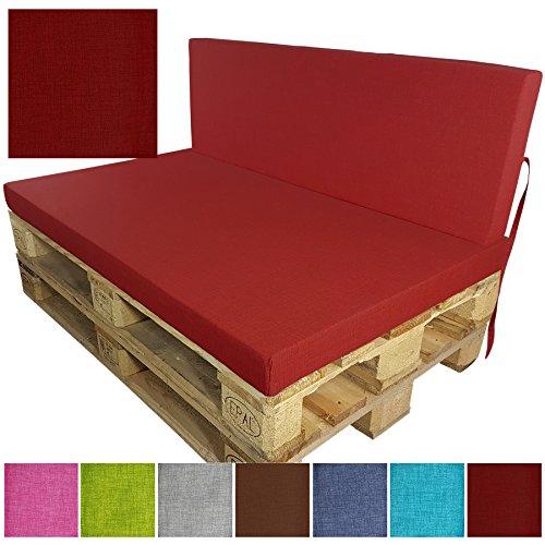 DILUMA Coussins pour Palette Europe Outdoor de proheim - À choissir Coussin d'assise ou de Dossier (Pas Un Set!) pour Sofa en Palette, Couleur:Rouge, Variable:1 Assise 120 x 80 cm