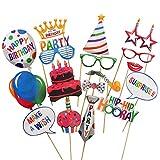 22 Pcs Happy Birthday Photo Booth Props Funny DIY Creative Birthday Decor For Celebrating Birthday