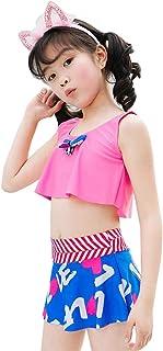 2点セット水着 キッズ 女の子 8-10歳 花柄 UVカット かわいい スカート キュート 伸縮性あり スイミングウェア プール ビーチ 海水浴 温泉 子供水着 セパレート ピンク イエロー