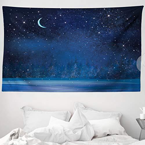 ABAKUHAUS Luna Tapiz de Pared y Cubrecama Suave, Invierno Místico Lugar Mágico Cielo Estrellado Noche Oscura Paisaje Bosque Encantado, No se Desliza de la Cama, 230 x 140 cm, Azul Oscuro