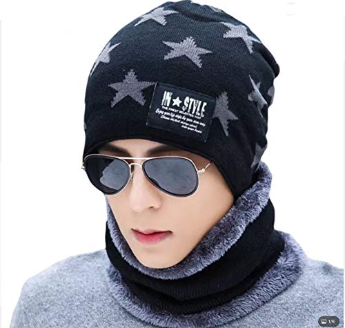 Wersoa Upgraded Star Quality Men's and Women's Warm Knitted Fur Inside Winter Beanie Cap and Neck Scarf - Set of 2 Pieces (Black)