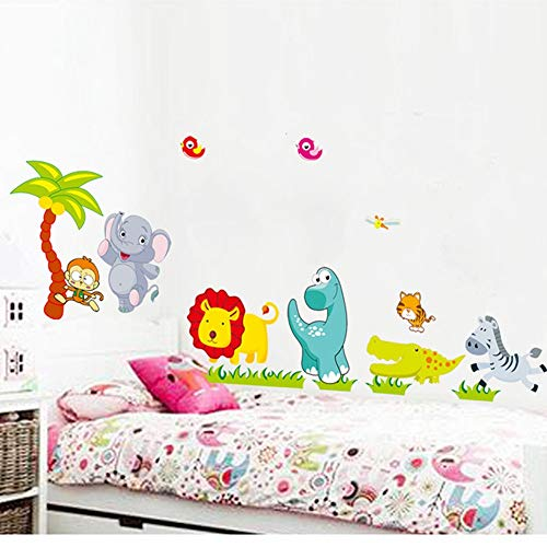 BLOUR% cartoon jungle wilde dieren DIY 3D vintage behang vinyl muursticker voor kinderkamer kind muurkunst sticker decoratie