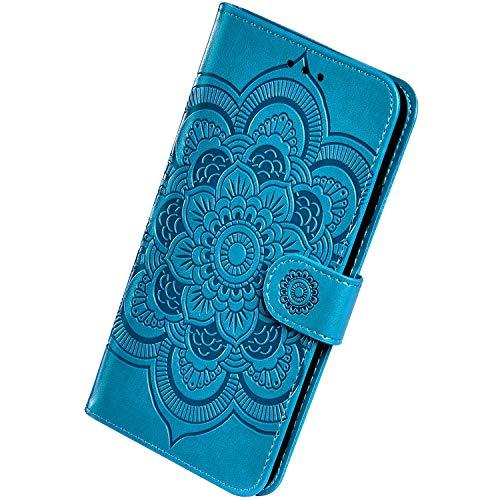 Herbests Kompatibel mit MOTO P40 Power Handyhülle mit Mandala Blumen Muster Motiv Hülle Leder Schutzhülle Flipcase Brieftasche Wallet Tasche Magnetverschluss Stoßfest Cover Case,Blau