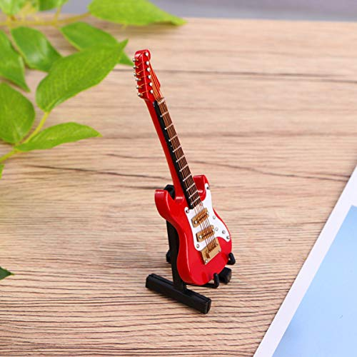 Garneck Mini Modelo de Guitarra Guitarra Eléctrica Estatuilla Instrumento de Música Réplica en Miniatura Modelo de Casa de Muñecas Cumpleaños Decoración Del Hogar
