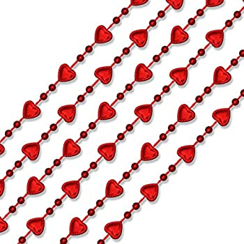 Mini Red Hearts Mardi Gras Beads Necklaces Set of 12