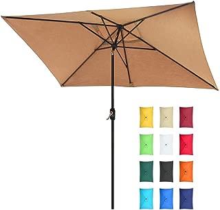EliteShade Sunbrella 10x6.5 Ft Rectangular Market Umbrella Patio Outdoor Table Umbrella with Ventilation and 5 Years Non-Fading Top,Heather Beige