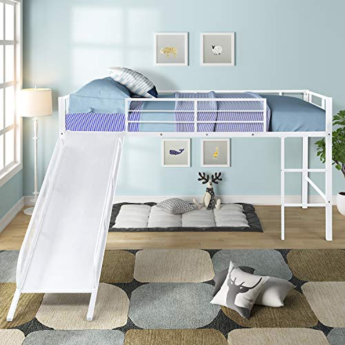 Extaum Twin Over Full Bunk Bed,Twin Metal Loft Bed with Slide,Low loft, Strong Slide, Best Choice for Child,No Box Spring Needed, Three Colors Available White with White Slide