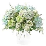 KIRIFLY Artificial Flowers, Fake Peony Silk Hydrangea Bouquet Decor Plastic Carnations Realistic Flower Arrangements Wedding Decoration Table Centerpieces 2 Packs (Light Green)