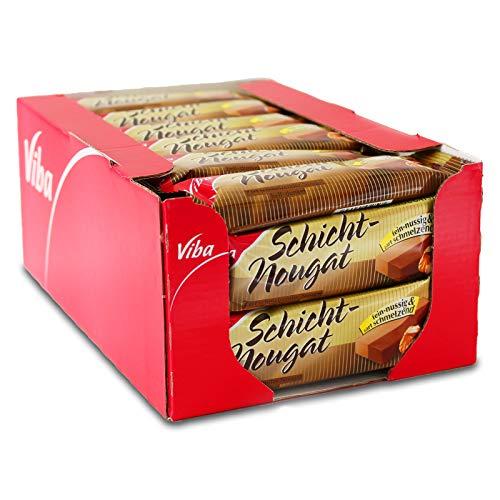 40er Sparpack Viba Schicht-Nougat (40 x 40 g) Nougat hell-dunkel fein & zartschmelzend Nougatriegel Schokoriegel