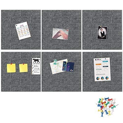 HyFanStr 6er Pack Filz Pinnwand Korkplatte 30X30cm, Brick Effect Selbstklebende Korkplatte, Wandbehang Fototafel mit 30 Stück Pushpins, Bulletin Tafel Heimdekoration und Büro