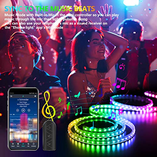 50Ft LED Strip Lights Music Sync Color Changing RGB LED Strip 44-Key Remote, Sensitive Built-in Mic, App Controlled LED Lights Rope Lights, 5050 RGB LED Light Strip(APP+Remote+Mic+3 Button Switch) 2