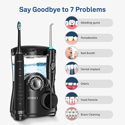 Water Flosser with Sonic Toothbrush, ATMOKO 600ml Oral Irrigator & Electric Toothbrush with 7 Multifunctional Jet Tips, 3 Min Timer, Dental Water Flosser for Home Use (2-Pin UK Bathroom Plug)