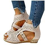 Dasongff Sandalias de mujer de malla, abovedadas, cruzadas, sandalias romanas, con correa en el tobillo, zapatos de verano, sandalias de playa trenzadas, sandalias de verano y tiempo libre
