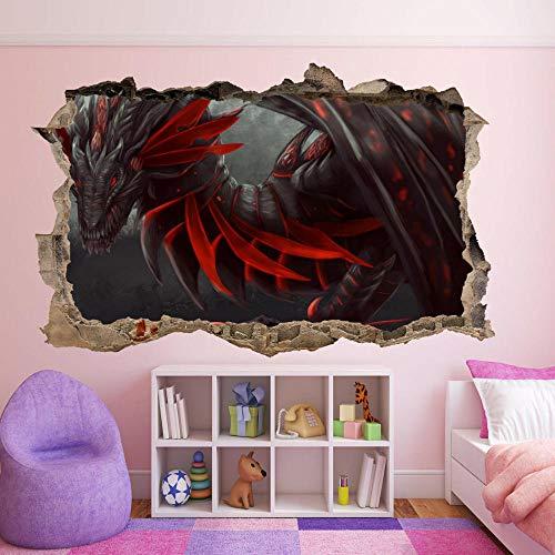 Pegatinas de pared Dragón pegatinas de pared arte mural calcomanía hogar oficina decoración mística Póster Arte 3D Mural 50x70cm