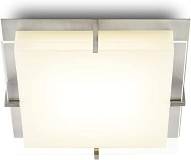 LED Square Satin Nickel Flush Mount - Glass & Metal Ceiling Light - 12 Inch, Dimmable, Damp Located, Contemporary Vanity, Bat