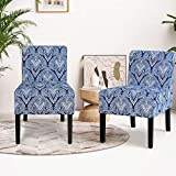 Giantex Fabric Accent Chair Set of 2, Contemporary Leisure Side Chair w/Thick Sponge Cushion, Wood Legs, Weight Capacity 330 Lbs, Armless Accent Chair for Living Room, Bedroom (2, Sapphire)