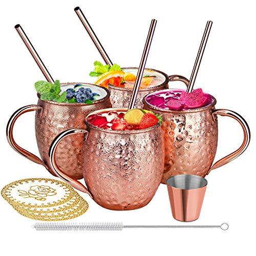 SDFZH Moscow Mule Becher Set, 4 Kupferbecher Cocktail Tasse für Kaltes Getränk, Wein, Bar, Party, Geschenkset mit 4 Strohalmen 1 Reinigungsbürste und 4 Untersetzer, 1 Jigger, 470ml
