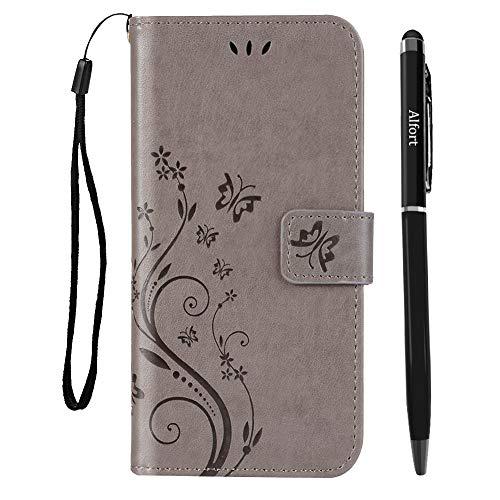 Samsung Galaxy S8 Hülle, Abafia Prämie PU Leder Handyhüle Stilvoll Geprägtes Schmetterlings Muster Lederhülle Tasche für Samsung Galaxy S8 Schutzhülle (Grau) + Stylus Stift + Handy Lanyard