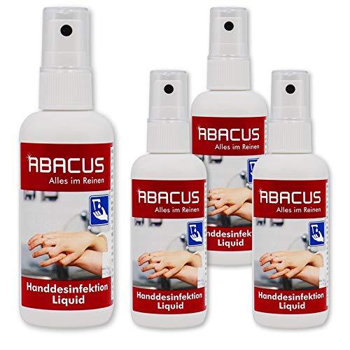 HANDDESINFEKTION LIQUID 4x 100 ml (7542) - Pumpspray Sprühfläschchen ideal für die Reise oder den mobilen Einsatz Schnelldesinfektion Desinfektion - ABACUS