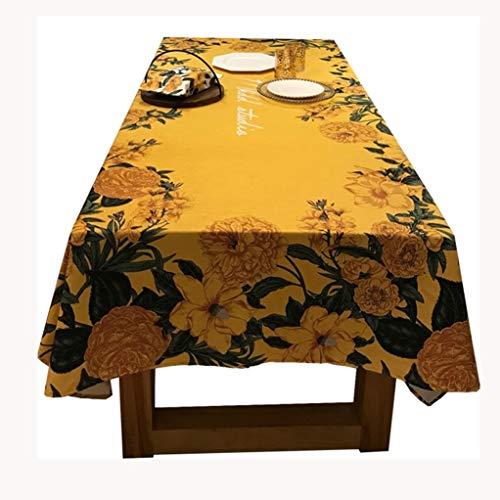 Exquisite Tafelkleed Cotton Blend Tafel Rokken Rectangle Wrinkle-Resistant tafel- gemakkelijk te reinigen Multifunctionele Fade Resistant Oil Cloth (Color : Yellow, Size : 140 * 140CM)