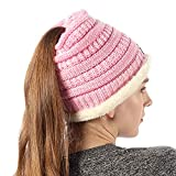 Womens Thick Soft Knit Beanie Cap Hat with Ponytail Hole for Winter Pink