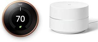 Google Nest Learning Thermostat, 3rd Gen, Copper, and Google WiFi System Bundle